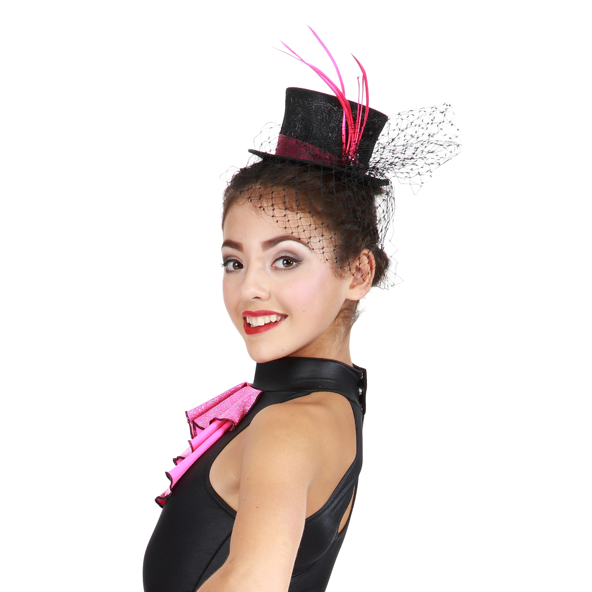 Pink Glitter Mini Hat for Dance Costumes